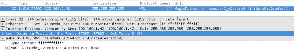 Exemple de paquet WoL récupéré par Wireshark