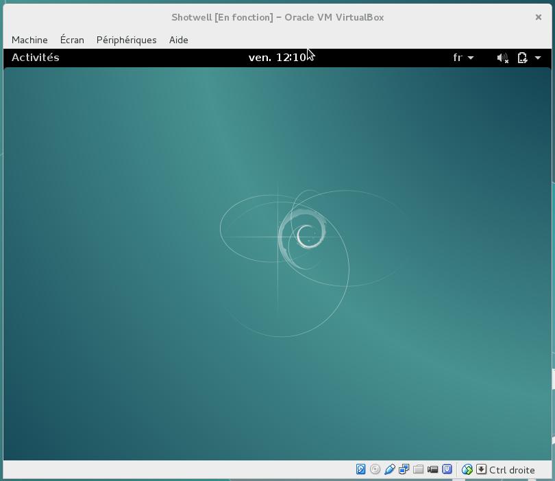 Screenshot machine virtuelle avec Gnome Shell