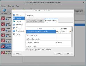 Fenêtre paramètre virtualbox