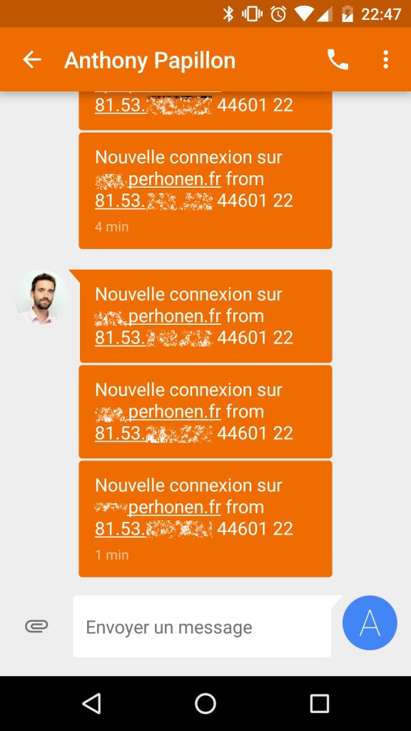 Exemple de notifications par SMS d'ouverture de session