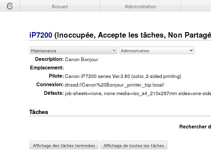 Modification IP7200 sous CUPS